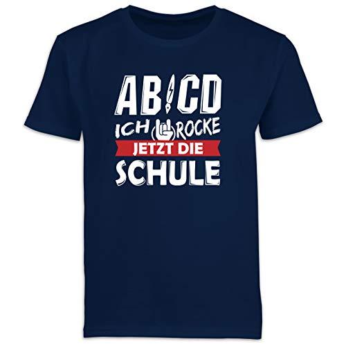 Einschulung und Schulanfang - ABCD Ich Rocke jetzt die Schule - 140 (9/11 Jahre) - Navy Blau - ABCD t-Shirt - F130K Schulanfang - Schulanfang Jungen T-Shirt Kinder