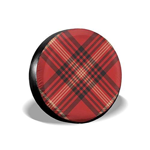 JONINOT Verifique Tartán Rojo Tela Escocesa Belleza Moda Poliéster Universal Rueda de Repuesto Cubierta de neumático Cubiertas de Rueda