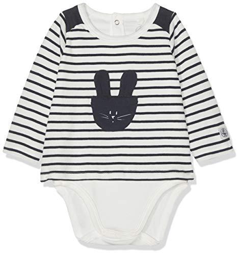 Petit Bateau Berthe Body, Blanc (Marshmallow/Smoking 01), 56 (Taille Fabricant: 1M) Bébé garçon