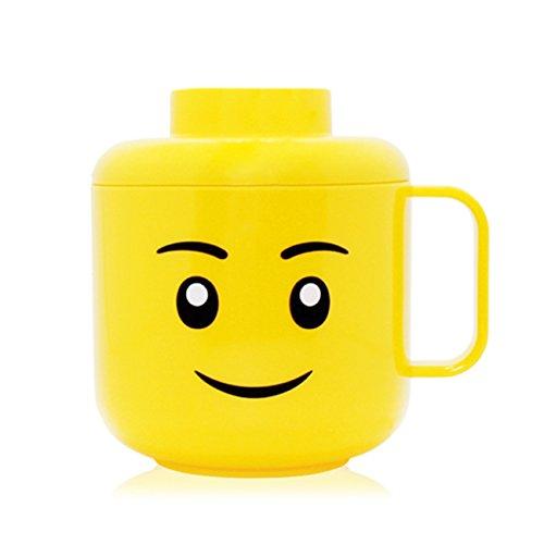 Taza de la taza de la cara de Oxford con el casquillo 250ml YellowFaceCupWithCap