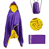 MordenApe Outdoor Stadium Blanket, Waterproof Windproof Portable Camping Blanket, Hooded Warm Blanket for Cold Weather, Camping, Sports, Travel (Purple, 58' x 79')
