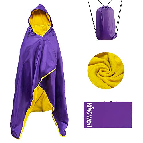 """MordenApe Outdoor Stadium Blanket, Waterproof Windproof Portable Camping Blanket, Hooded Warm Blanket for Cold Weather, Camping, Sports, Travel (Purple, 58"""" x 79"""")"""
