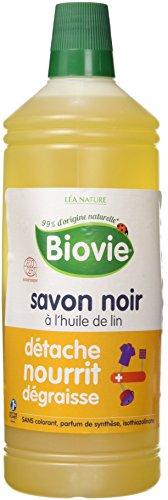 Biovie Savon Noir Liquide à l'Huile de Lin 1 L - Lot de 2