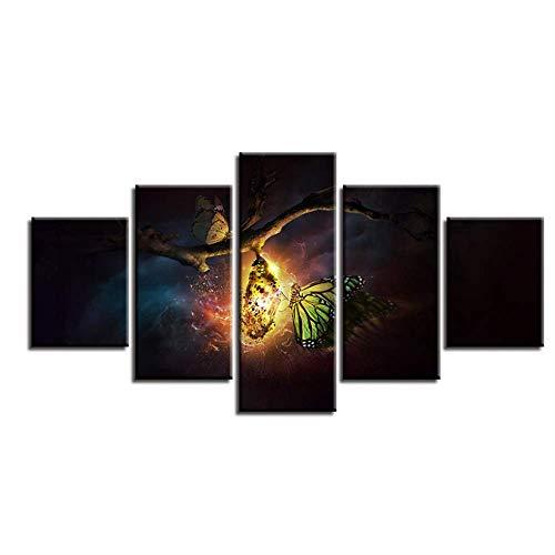 SMENGJIA Poster modulares Leinwandbild mit abstraktem Tier, Schmetterling, Nacht-Szene Bilder, Dekoration, Wohnzimmer, Moderne Drucke, 30 x 40 x 2 30 x 60 x 2 30 x 80 cm, ohne Rahmen