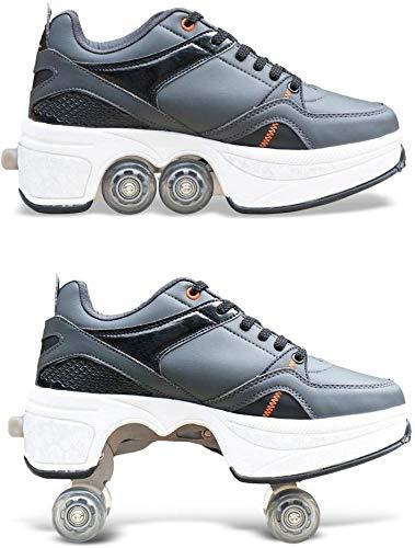 MX kingdom Rollschuh Roller Skates Lauflernschuhe,Sneakers,2in1 Mehrzweckschuhe Schuhe mit Rollen Skateboardschuhe,Inline-Skate,Verstellbare Quad-Rollschuh Stiefel Skateboardschuhe EU39/UK6