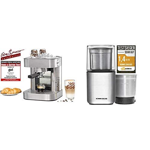 ROMMELSBACHER Espresso Maschine EKS 2010 - Siebträger, Filtereinsatz für 1 bzw. 2 Tassen & Gewürz und Kaffee Mühle EGK 200 - 2 Edelstahlbehälter mit Schlagmesser & Spezialmesser, 200 Watt