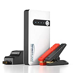 PORTABLE EMERGENCY POWER: With the INFINITY LIGHT MULTI-PURPOSE 4-IN-1 BATTERY CHARGER, never get stuck in an auto emergency; Its compact, portable power station includes a combo 12V Jump Starter with Battery Clamps, Emergency USB Charging Power Bank...