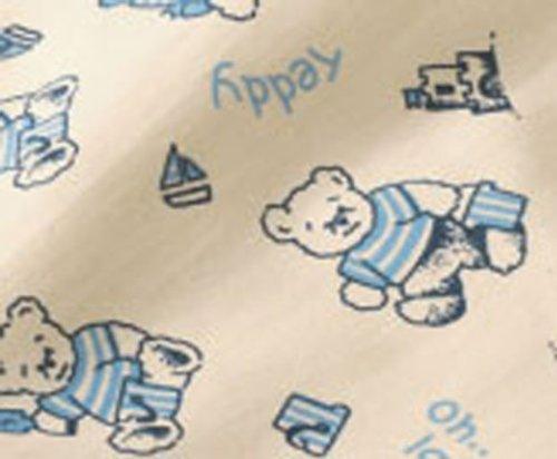 Cotonea, Schlafsack mit Plüschfutter, 90cm, Motiv Teddy blau, Bio Baumwolle