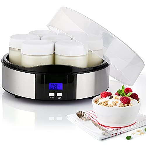 Yogurtera Eléctrica Compacta, con Pantalla LCD y 7 Tarros de Cristal de 200 ml, Temporizador de Apagado Automático, de Acero Inoxidable para Yogur Natural Casera