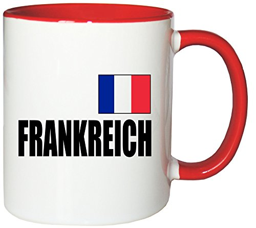 Mister Merchandise Kaffeetasse Frankreich Fahne Flag Teetasse Becher, Farbe: Weiß-Rot