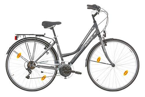 Frank Bikes 28 Zoll Damen Fahrrad CITYFAHRRAD DAMENFAHRRAD CITYRAD DAMENRAD Rad Beleuchtung Shimano 18 Gang Avenue Lady GRAU