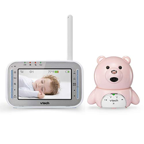 VTech VM346-19 Bear Video Baby Monitor with Automatic Infrared Night Vision, Soothing Sounds & Lullabies, Temperature Sensor & 1,000 feet of Range (Light Pink Bear) Monitors