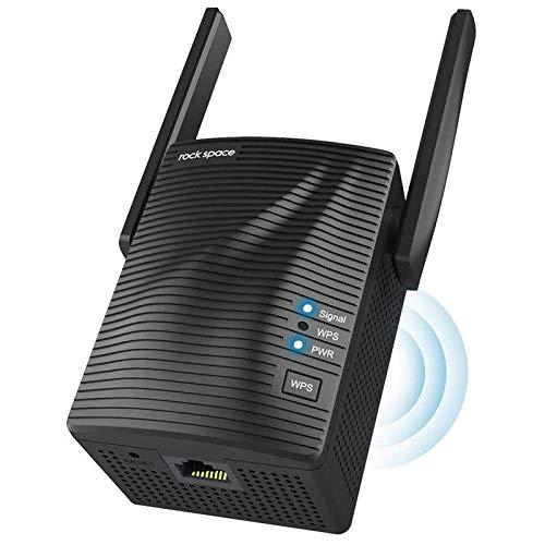 rockspace WLAN Repeater 1200 Verstärker Dualband 5GHz/867MBit/s+2,4GHz/300MBit/s, WLAN Extender mit Gigabit LAN-Port, WPA2-PSK Sicherheit, Kompatibel zu Allen WLAN Geräten, deutschsprachige Version