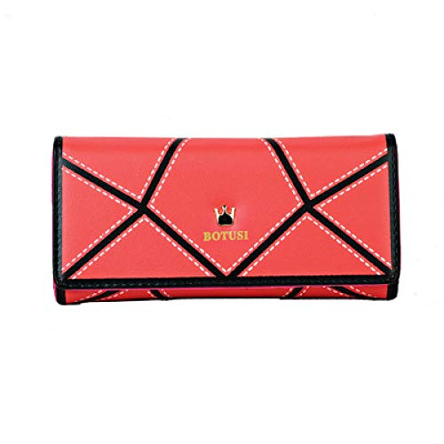 VICTOEKoreanische Fashion Wild Lady PU Leder Schnalle Lange Geometrische Muster Clutch Tasche Tri-fold Wallet Card Package Easy to Use Münzfach, rot (Rot) - VICTOE-6554