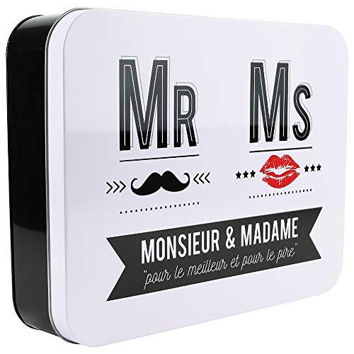 LA BOITE A BT6642 Mr et Ms Boîte Métal Noir/Blanc 31,50 x 24,30 x 7,30 cm