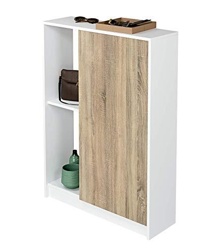 Muebles Pitarch Neo Estantería, Aglomerado de partículas y melanina de Alta Densidad, Blanco Alto Brillo/Cambrian, 110 x 80 x 25 cm
