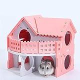 CAVIVI - Jaula de Madera para hámster o hámster, Color Rosa, para hámsters sirios, Ratas, Ratones, Mascotas pequeñas, Escalera de Doble Cubierta, Colorida, Cama para Dormir, Nido para casa