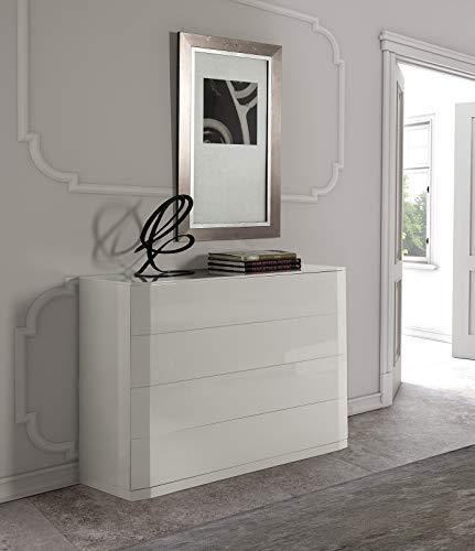 Dugar Home Muebles para Dormitorios - Cómoda Andrómeda Blanca 4 Cajones (110x42x85)