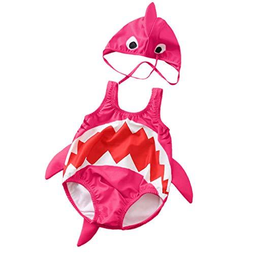 XXYsm 2 Teiliges Cosplay Shark Bademode Mädchen Jungen Unisex Badeset Einteilige Badeanzug + Hut Kleinkind Strand Schwimmanzug