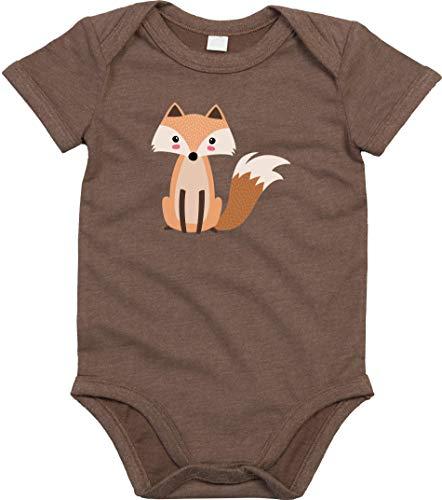 Kleckerliese Body per neonato con scritta in lingua inglese 'Baby Body Girl', a maniche corte con motivo animali volpe marrone 3-6 Mesi