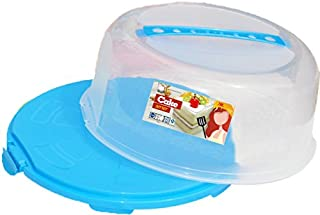 Palais Dinnerware Portable Cake Caddy Storage Container Server with Handle - 14 Inch Wide (Blue)