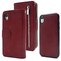 PLATA iPhone XR ケース 手帳型 と 背面 カバー 2WAY 収納力のある ファスナー ポケット ウォレットケース 手帳型カバー と 内側 スリムな バックカバー が分離可能 【 ワインレッド 】