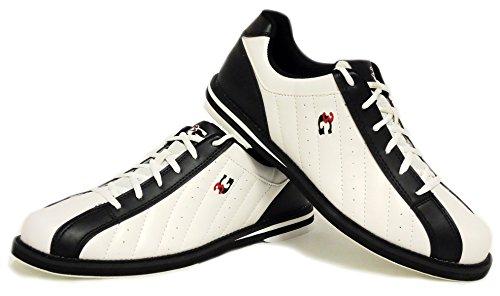 Bowling-Schuhe, 3G Kicks, Damen und Herren, für Rechts- und Linkshänder in 7 Farben Schuhgröße 36-48 (weiß-schwarz, 43 (US 10.5))
