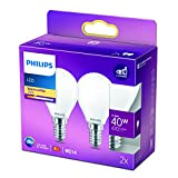 Philips LED Classic Bombilla, 40 W, P45 E14, Mate, Luz Blanca Cálida, No Regulable, Pack de 2 Unidades