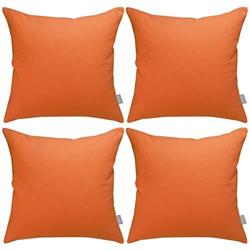 Confezione da 4 federe copricuscino in cotone, decorative, quadrate, per decorare la casa o il divano, 45 x 45 cm (solo federa, senza inserto) Arancione
