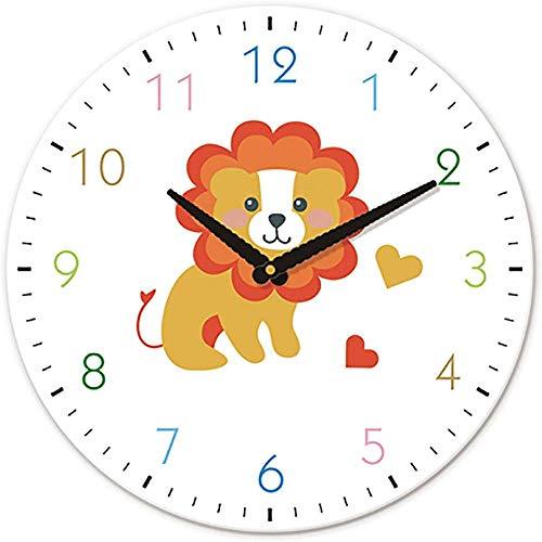 Reloj De Pared Infantil De 12 Pulgadas Con Dibujos Animados Lindo León Animal Decoración De La Habitación De Los Niños Números Coloridos Tattract Atención De Los Niños Silencioso
