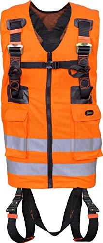 Kratos Zweipunkt Auffanggurt mit hoch-sichtbarer orangen Arbeitsweste, Warnweste, mehrere Taschen, PSA, EN361, EN471