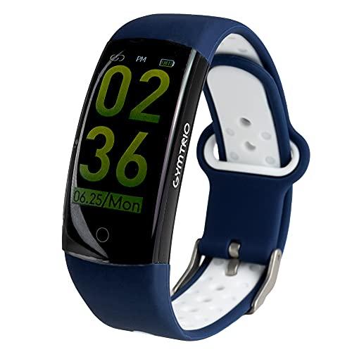 GYMTRIC Q6S Reloj Inteligente Modos Deportivos Pulsera Fitness Smart Watch Fitness Monitor de Ritmo Cardíaco Seguimiento de Actividad (Blanco/Azul Oscuro)