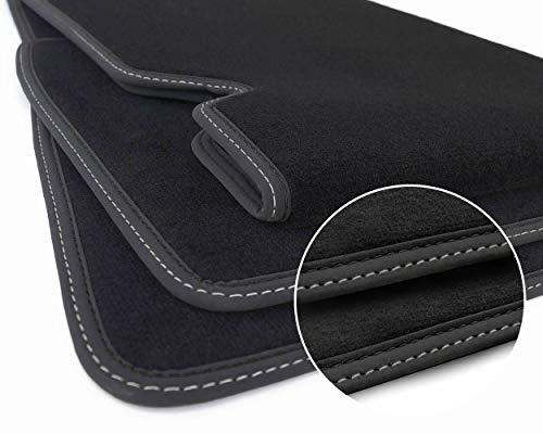kh Teile Alfombrillas modelo S (doble costura, negro y plata) alfombrillas de coche Sport Tuning accesorios terciopelo 3 piezas