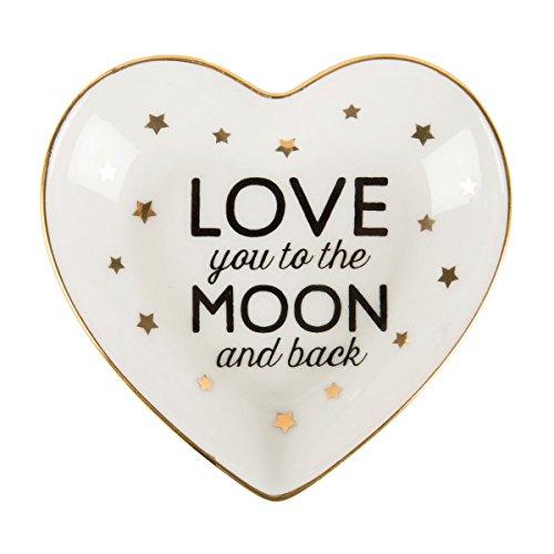 Porzellan Schmuckteller 'Love you to the moon and back' mit goldenen Sternchen