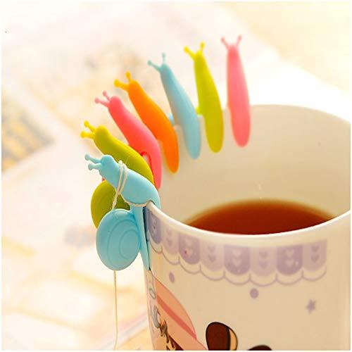 QLQGY Süße Party Schnecke Silikon Tee hängen Teebeutel hängen Cup Edge Anhänger Hochzeitsgeschenk Halloween Party Supplies Küche, zufällig 5pc