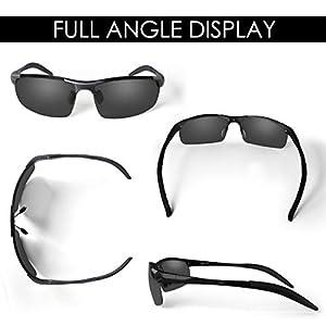 CHEREEKI Gafas de Sol Deportivas, Gafas de Sol Polarizadas de Conducción con protección UV400 para Hombres y Mujeres (Negro)