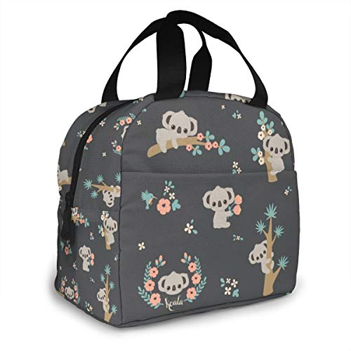 Floral Tree Animal Koala Reusable Lunch Bag Tote Bag for Women Cooler Lunch Box Insulated Lunch Container for Work Office Picnic