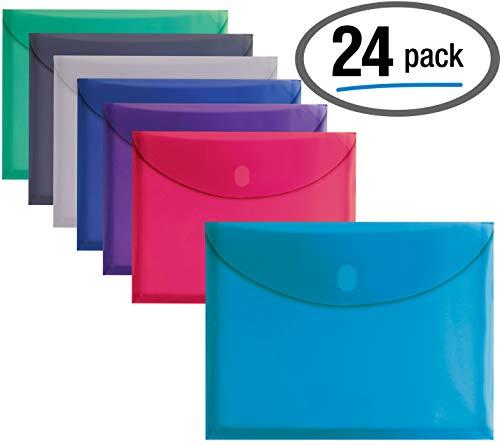 24 Plastic Envelopes, Reusable Poly Envelopes, Letter Size, Assorted Colors, Transparent, Side Loading, with 1