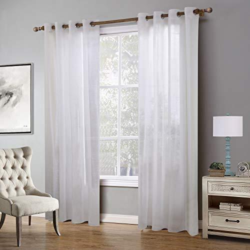 EXQULEG 2 Stücke Voile Vorhänge,Transparent Gardinen mit Ösen Fensterschal (Weiß, 220 x 140 cm)