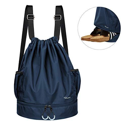 Ryaco Turnbeutel Unisex Sportbeutel Kordelzug Rucksack für Sport, Outdoor und Reisen, Gym Bag Daypack mit Innentasche und Reißverschluß-Sicherheitstasche (Blau)