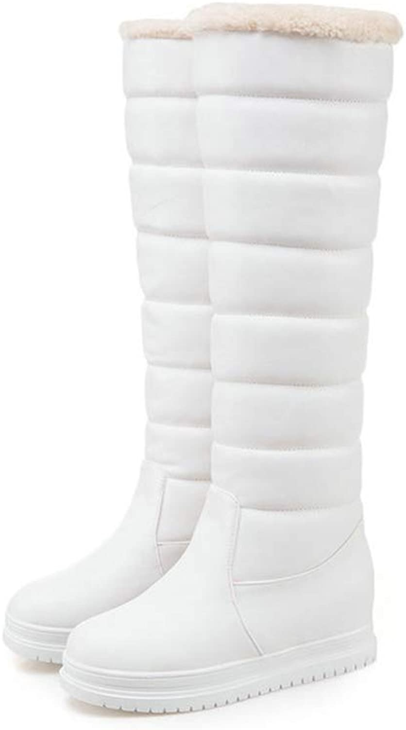 Women Fashion Knee High Boots Winter Snow Boots Slip On Round Toe Wedges Heel Thigh High Booties