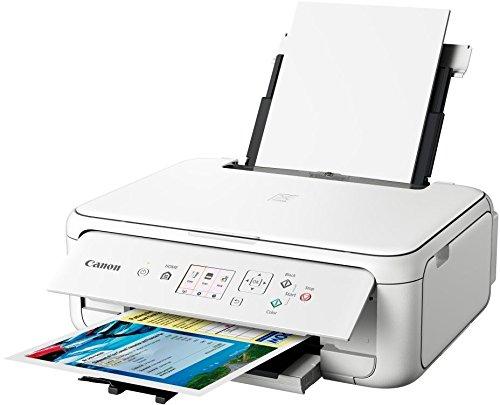 Canon PIXMA TS5151 Drucker Farbtintenstrahl Multifunktionsgerät DIN A4 (Scanner, Kopierer, Farbdisplay, 4.800 x 1.200 dpi, USB, WLAN, Duplexdruck, 2 Papierzuführungen), weiß