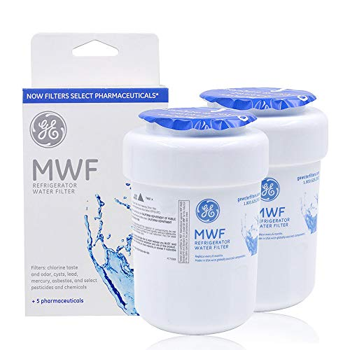 MWF Refrigerator Water Filter Replacement for GE MWF, MWFP, MWFA, GWF,HDX FMG-1, 469991 Refrigerator Cartridge white (2 Packs)