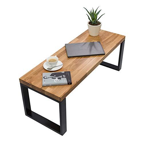 Mex Couchtisch Holz, Tisch Wohnzimmer, Kaffeetisch, Couchtisch aus Eichenholz, Handgefertigte Wohnzimmertische - Stahlprofile, Tischplatte aus Holz (40 x 110 x 40 cm)