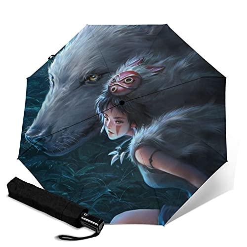 Princess Mononoke paraguas plegable automático portátil para mujeres y hombres reforzado resistente al viento marco impermeable y resistente a los rayos UV