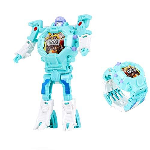 Mmhdz Kinder Roboter Spielzeug, Digitaluhr für Kinder 3 IN 1 elektrische Armbanduhr, Robot Watch für Schule Geschenk (blau)