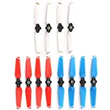 Helistar Propellers 6 Pairs 4730F Colored Quick Release Folding Blades Compatible with DJI Spark Drone CW CCW Props (White + Red + Blue)