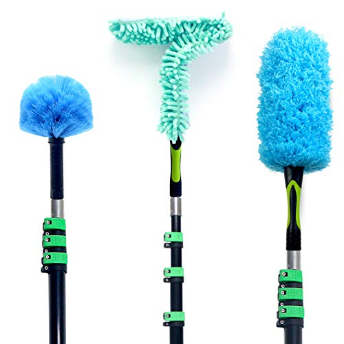 EVERSPROUT 7-to-26 Foot Duster 3-Pack with Extension Pole (30+ Foot Reach) | Hand-Packaged Cobweb Duster, Microfiber Feather Duster, Flexible Microfiber Ceiling Fan Duster | Aluminum Telescopic Pole