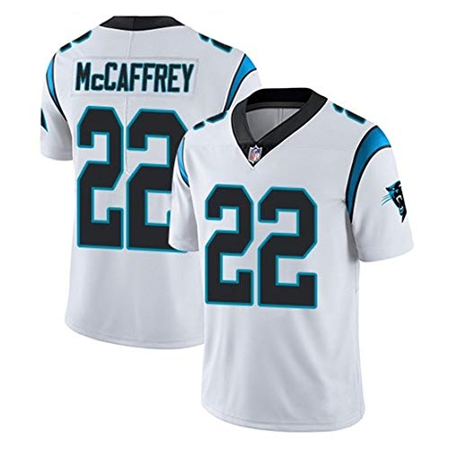 NFL masculino #22 McCAFFREY Carolina Panthers Tee/Camisetas,fútbol americano Fans Jugadores Jersey Rugby Top deportivo manga corta,Camisa cuello v Ropa deporte entrenamiento Chándal aire libre,A,3XL