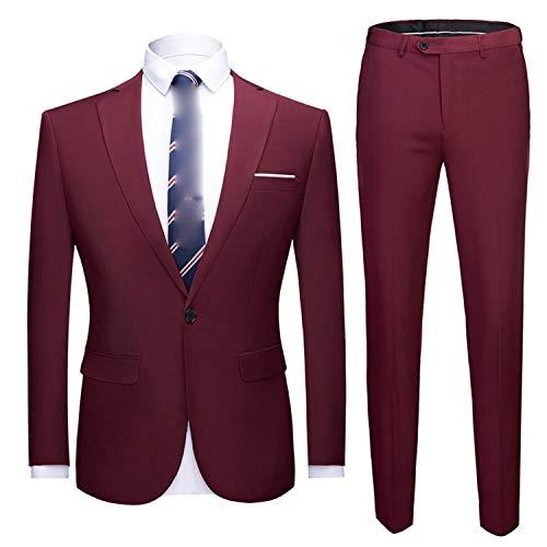 Goods-Store-uk Herren-Anzug-Set, Königsblau, formelle Anzüge mit Hose, Party, Hochzeit Gr. X-Large, Weinroter Anzug